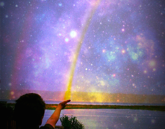 Rainbow and cosmos Photograph compilation by Lisa Hughes Anderson