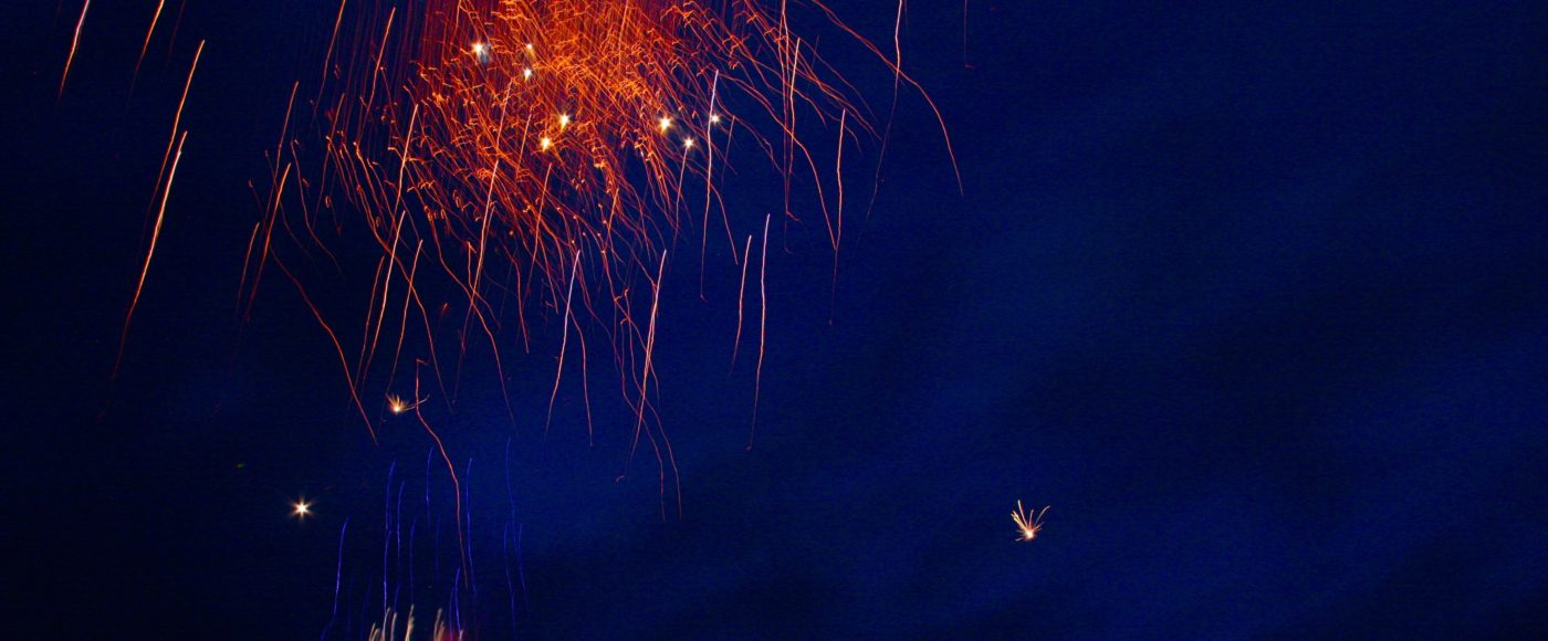 Spectacular fireworks against deep blue night sky
