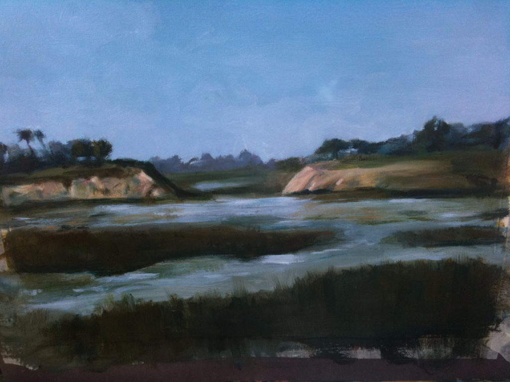 Upper Newport Bay Oil Painting by Lisa Hughes Anderson